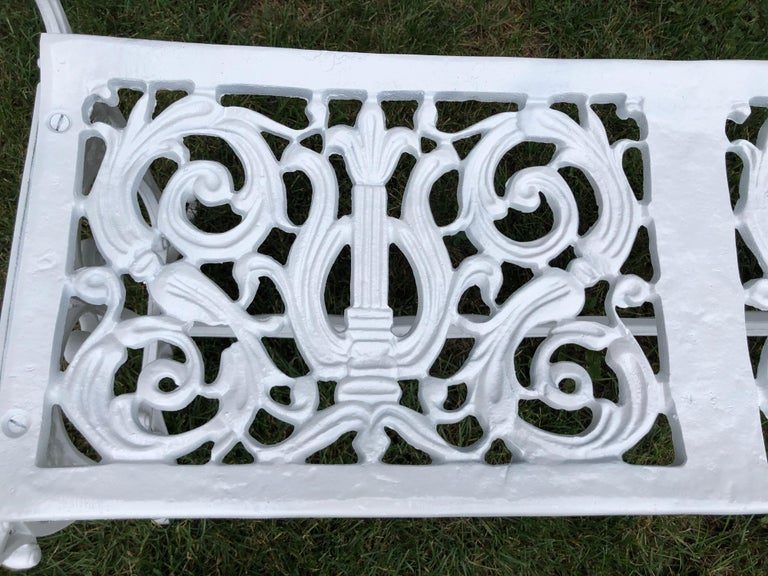Neoclassical White Garden Bench For Sale 4