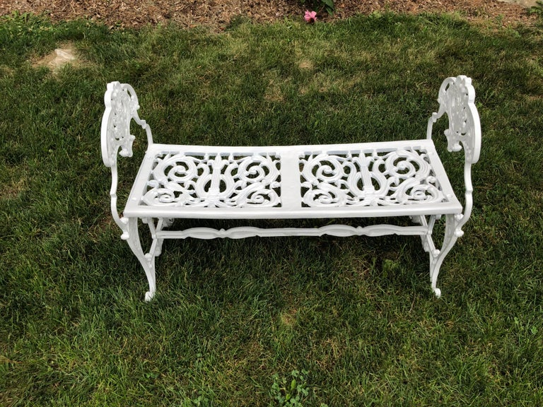 Cast Neoclassical White Garden Bench For Sale