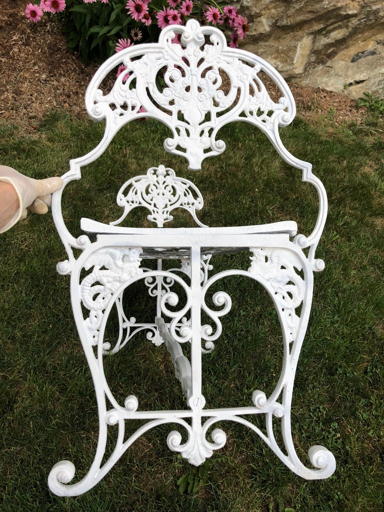 Neoclassical White Garden Bench For Sale 1