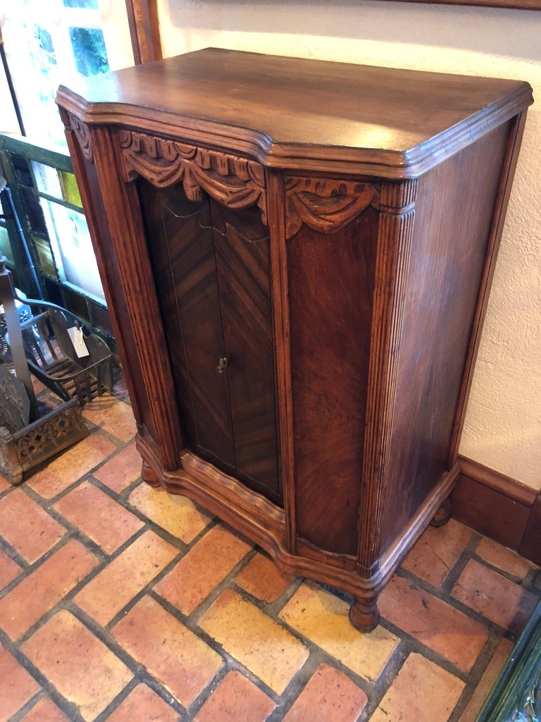 Carved Antique Wooden Cabinet or Bookcase For Sale 8