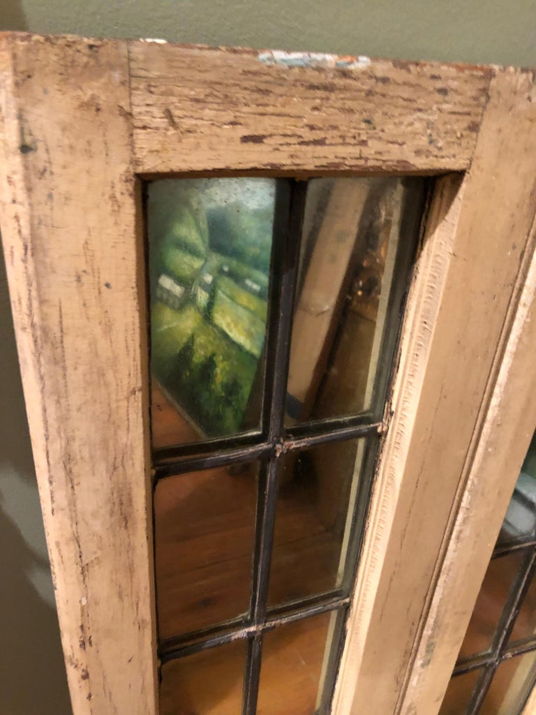 Pair of Shabby Chic Leaded Glass Mirrors For Sale 3