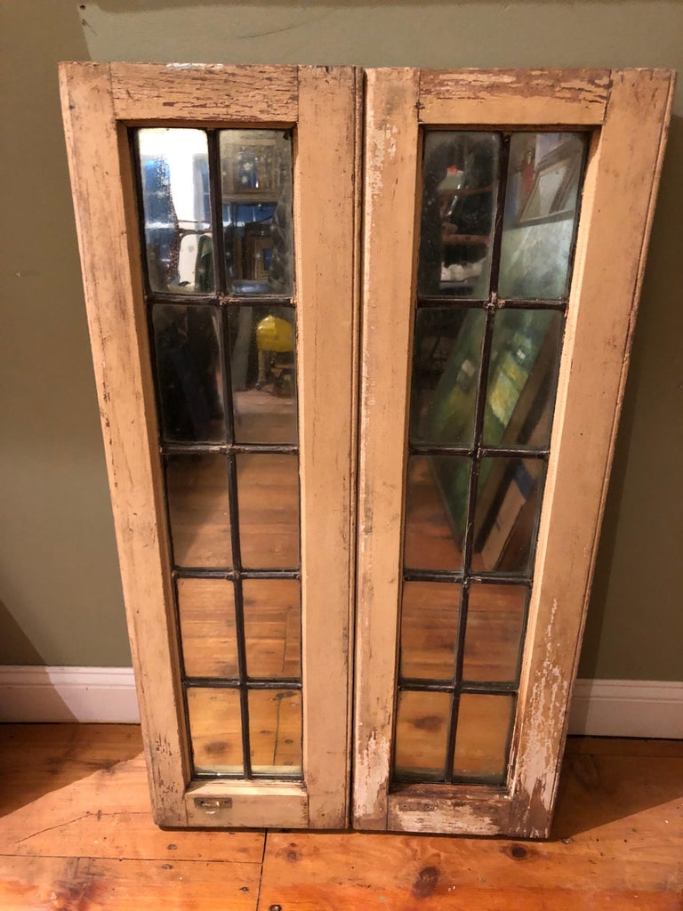 Pair of Shabby Chic Leaded Glass Mirrors For Sale 8
