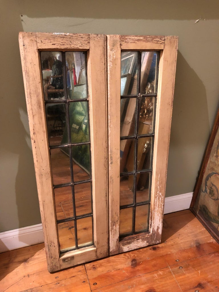 Pair of Shabby Chic Leaded Glass Mirrors For Sale 12