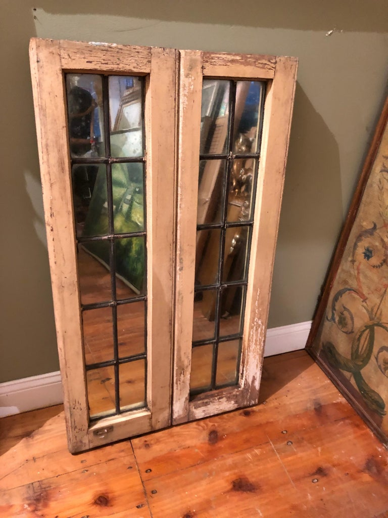 Pair of Shabby Chic Leaded Glass Mirrors In Good Condition For Sale In Redding, CT