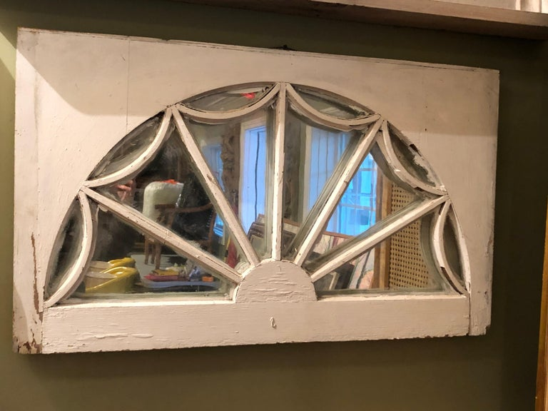 Vintage Federal Style Palladium Mirrored Window For Sale 5