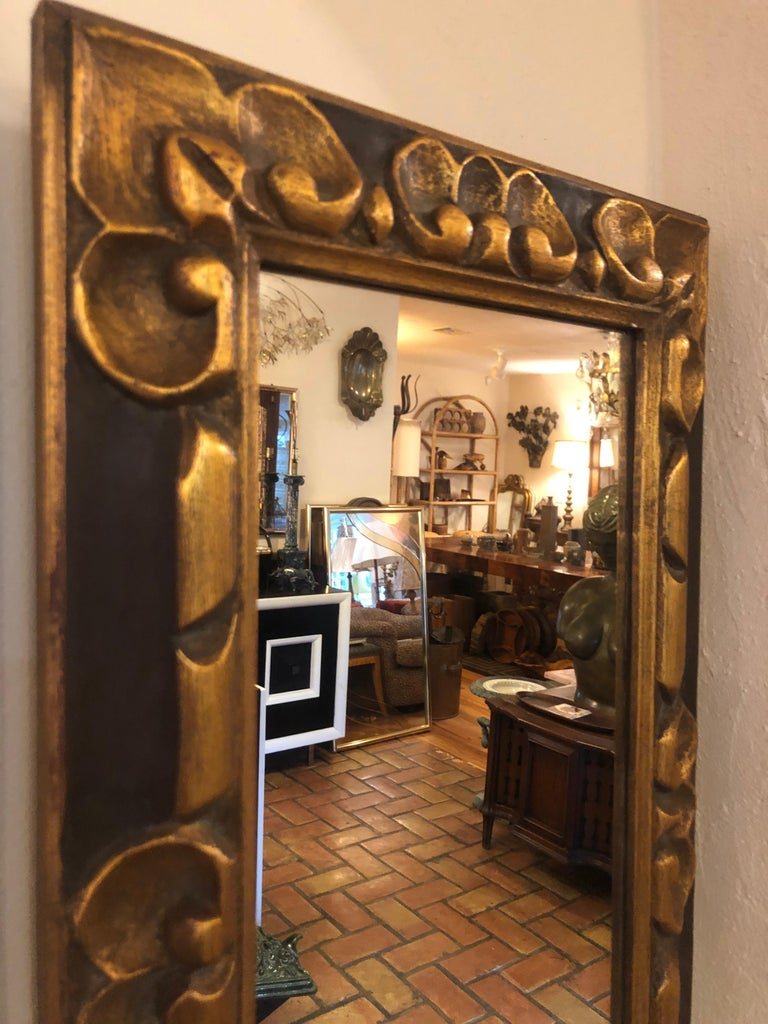 Hand Carved Gilt Wooden Mirror For Sale 5