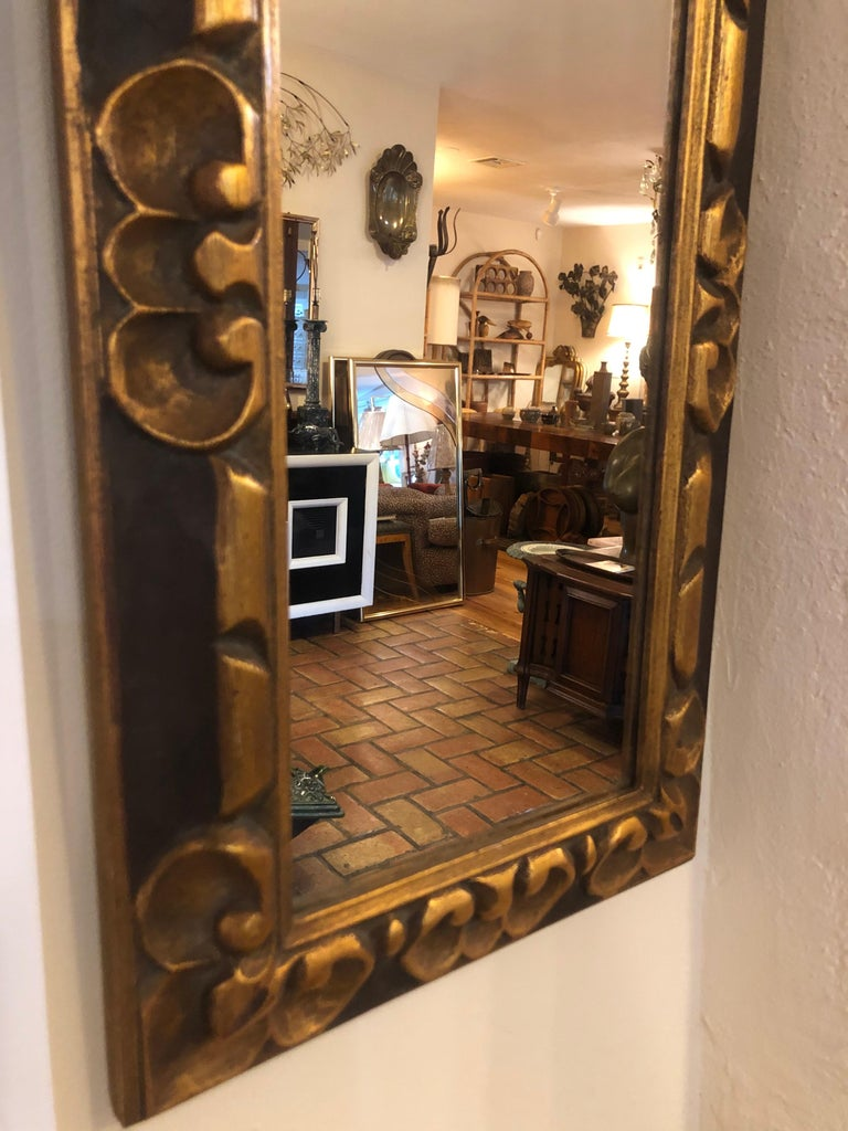 Hand Carved Gilt Wooden Mirror For Sale 6