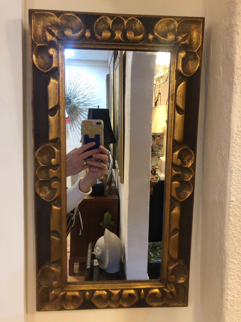 Hand Carved Gilt Wooden Mirror For Sale 9