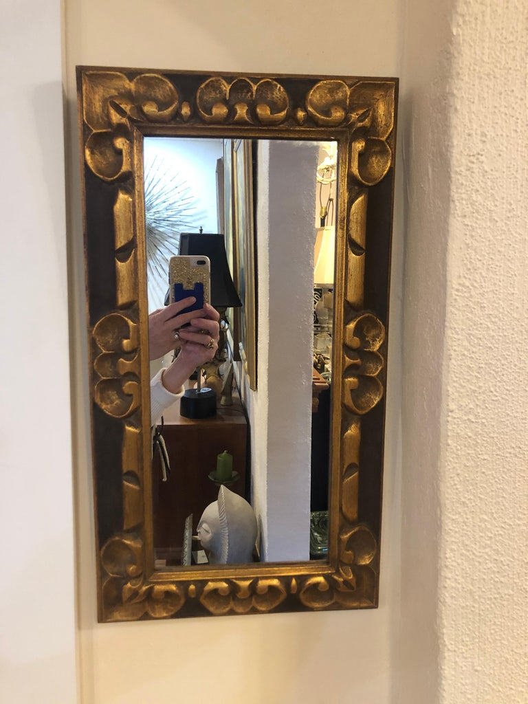 Hand Carved Gilt Wooden Mirror For Sale 8