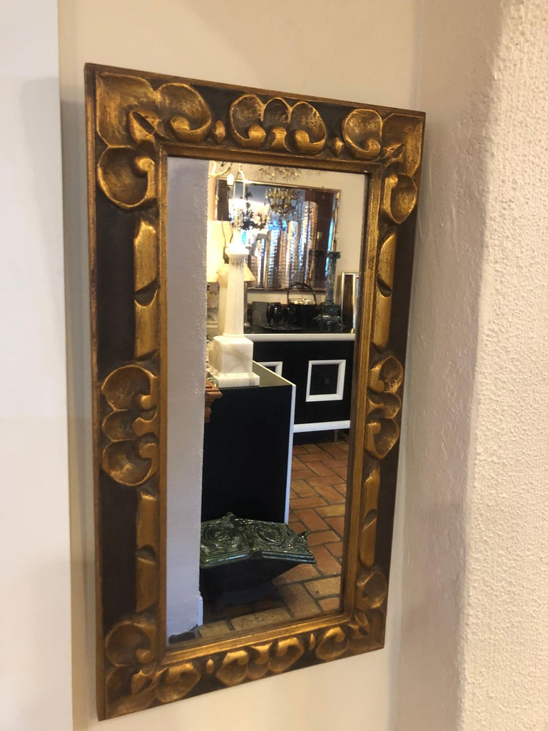 Hand Carved Gilt Wooden Mirror For Sale 10