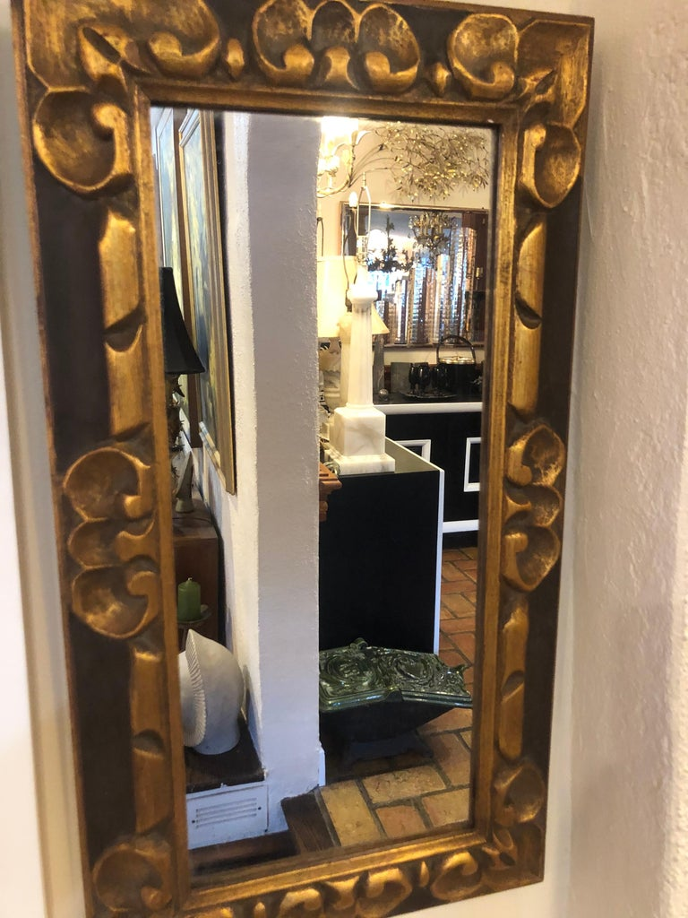 Hand Carved Gilt Wooden Mirror For Sale 11
