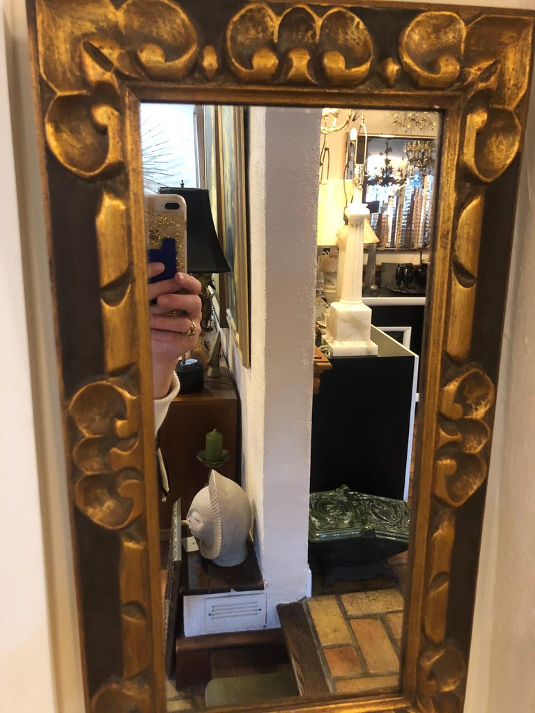 Hand Carved Gilt Wooden Mirror For Sale 12