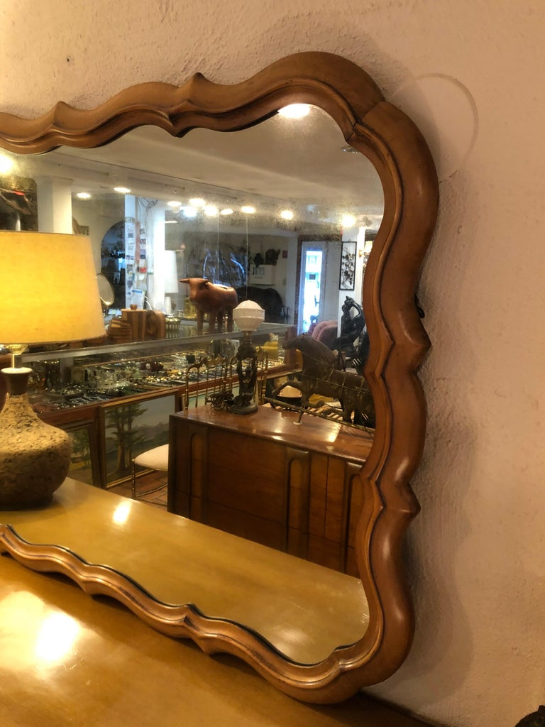 Large Scalloped Fruitwood Mirror 2