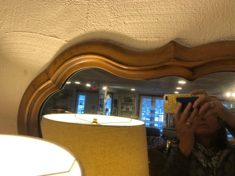Large Scalloped Fruitwood Mirror 4