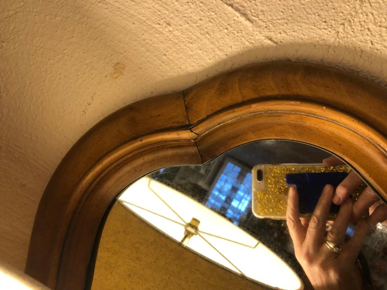 Large Scalloped Fruitwood Mirror 5