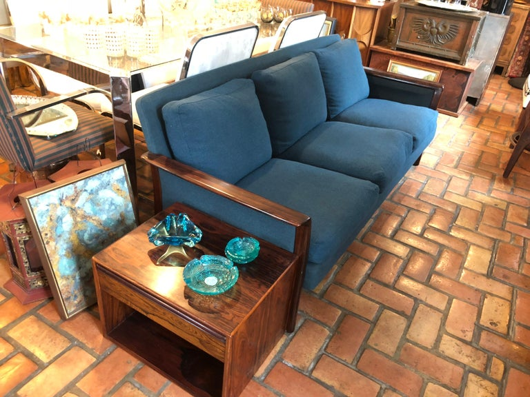 Broderna Anderssons rosewood sofa. In original teal blue upholstery with six loose fitting down filled cushions. Sink into this classic beauty.