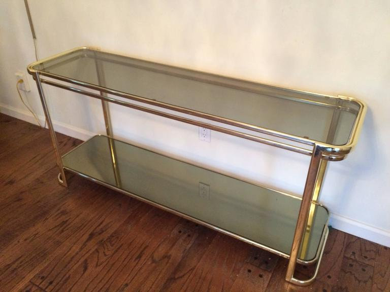 Brass Smoked Glass And Mirrored Console Table At 1stdibs