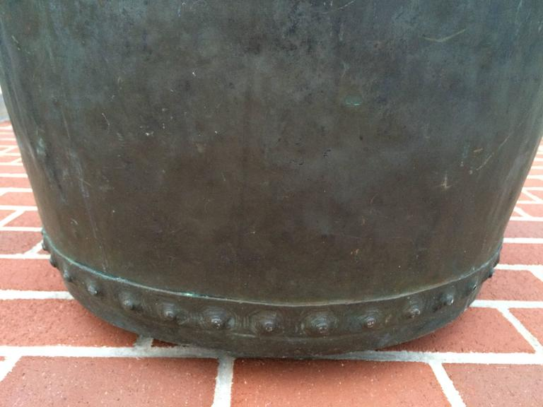 Large Early 19th Century Riveted Copper Log Holder For Sale 2
