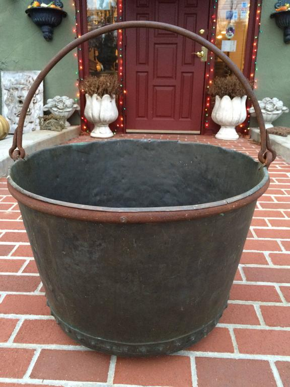 Large Early 19th Century Riveted Copper Log Holder In Good Condition For Sale In Redding, CT