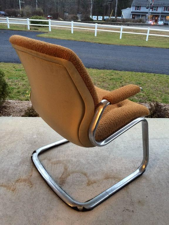 Steelcase Chrome Cantilever Chair At 1stdibs