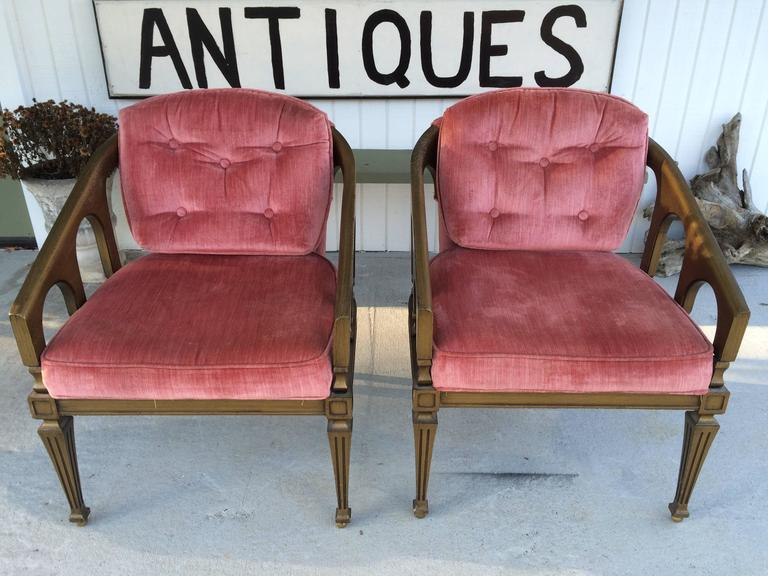 Upholstery Pair of Hollywood Regency Chairs For Sale