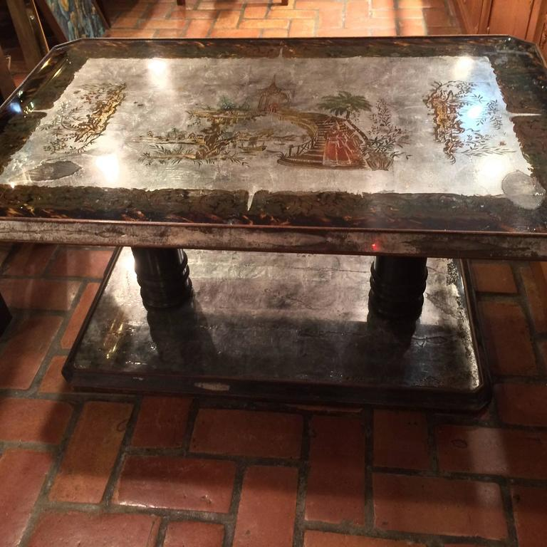 Painted Coffee Table Beautiful Asian Motif Design Reverse Painting