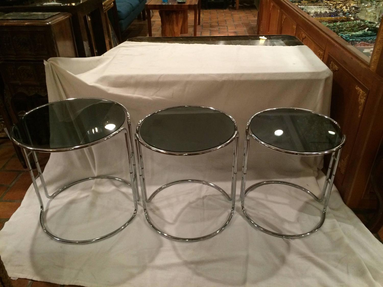 Set Of Three Milo Baughman Chrome And Smoked Glass
