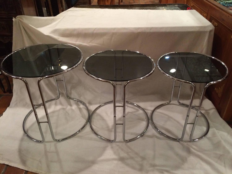 Set Of 3 Glass Tables: Set Of Three Milo Baughman Chrome And Smoked Glass