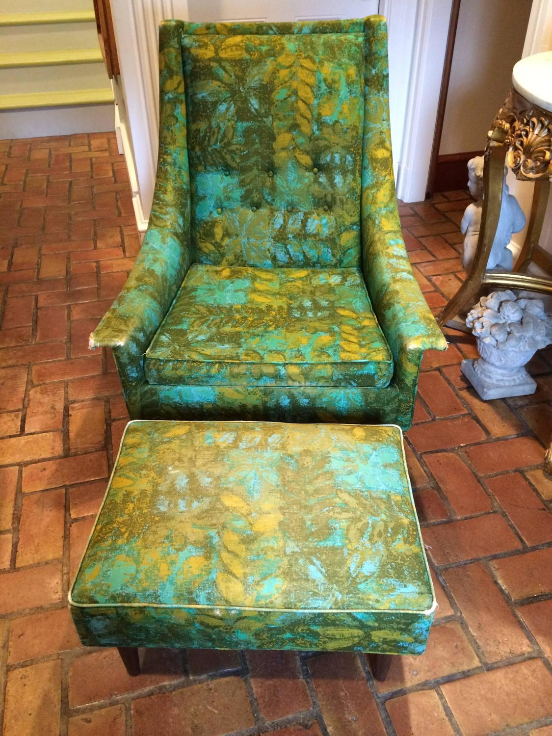 Rare Mid Century Selig Armchair And Ottoman For Sale At 1stdibs