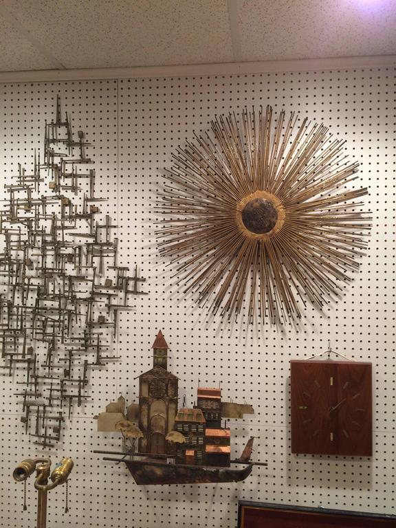 Mid Century Brutalist Starburst Wall Sculpture For Sale 3