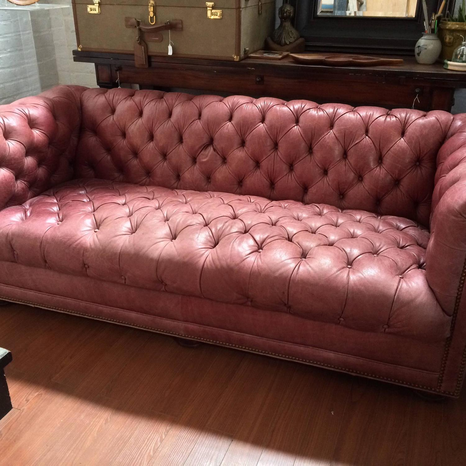 Tufted leather chesterfield sofa for sale at 1stdibs for Tufted couches for sale