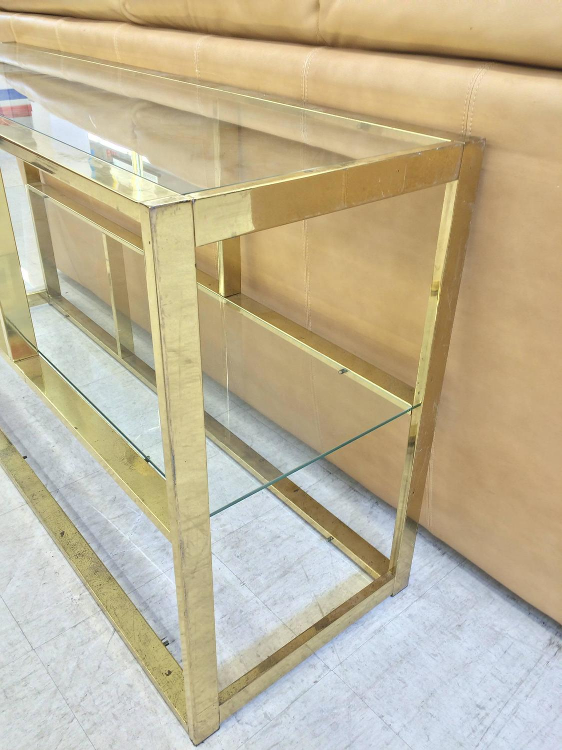 Milo baughman brass sofa table or low etagere for sale at for Low sofa table