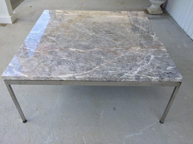 Mid-Century Modern Sleek Chrome and Marble Coffee Table For Sale