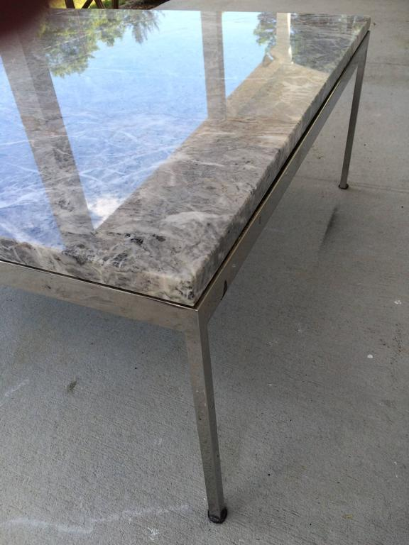 Sleek Chrome and Marble Coffee Table For Sale 1