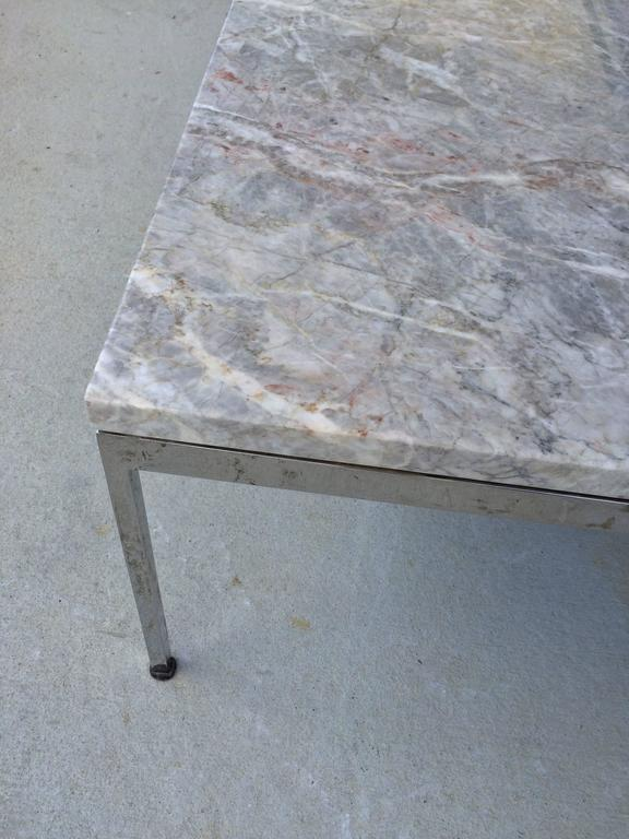 Sleek Chrome and Marble Coffee Table For Sale 2