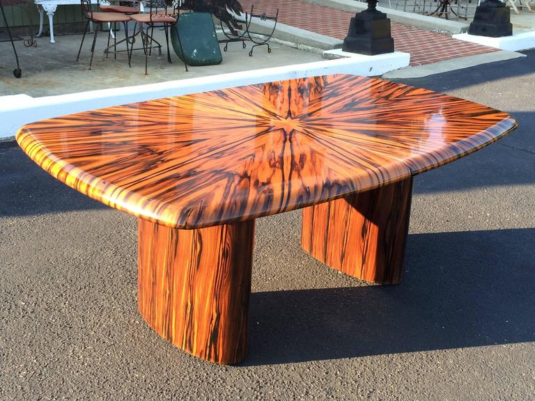 Exotic Zebrawood Dining Or Conference Table By Leon Rosen For Pace 2