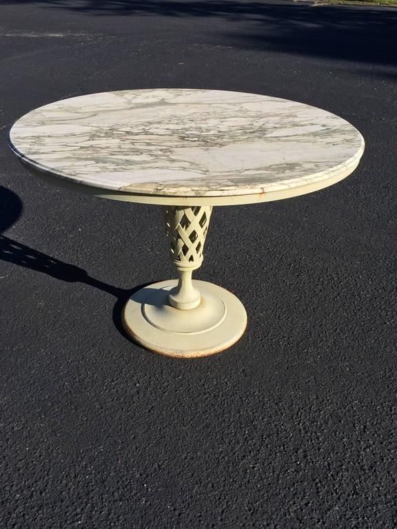 On Sale Marble Top Iron Patio Table For Sale At 1stdibs