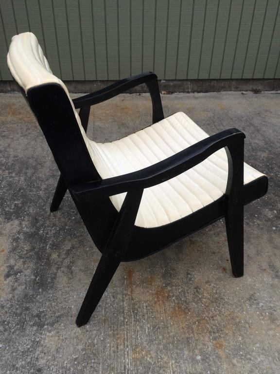 Mid Century Black And Ivory Vinyl Lounge Chair For Sale At