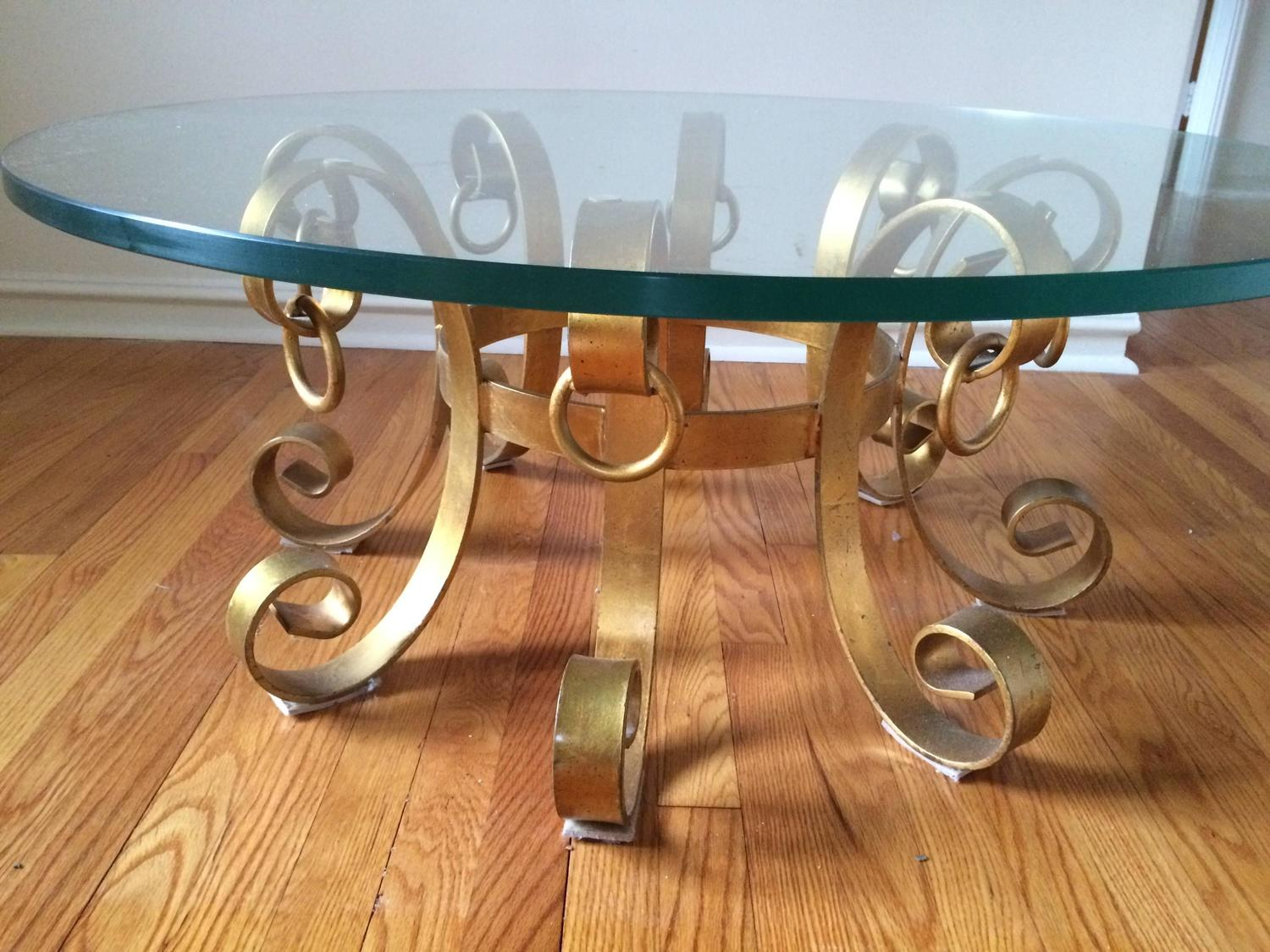 hollywood regency gilt iron coffee table for sale at 1stdibs