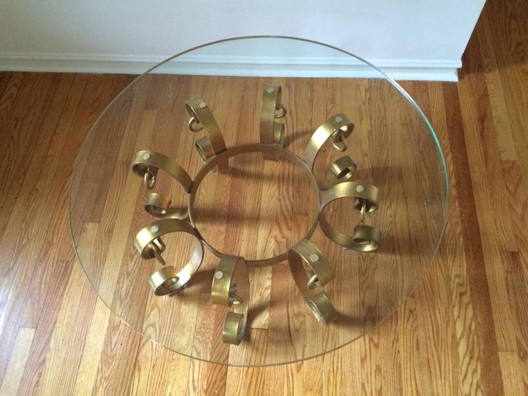 Mid-20th Century Hollywood Regency Gilt Iron Coffee Table For Sale