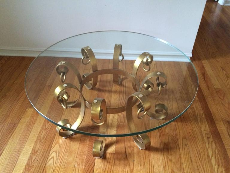 Glass Hollywood Regency Gilt Iron Coffee Table For Sale