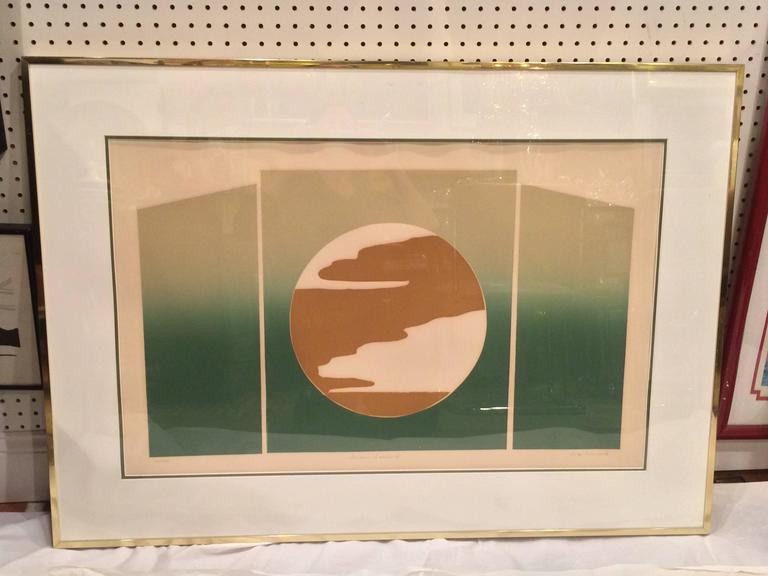 Mid Century Post Modern Signed and numbered silk screen By Rita Schwartz. Matted and framed and in very good condition. Nice, Large affordable piece of original art. This item is too fragile to go parcel. Recommended for white glove delivery.