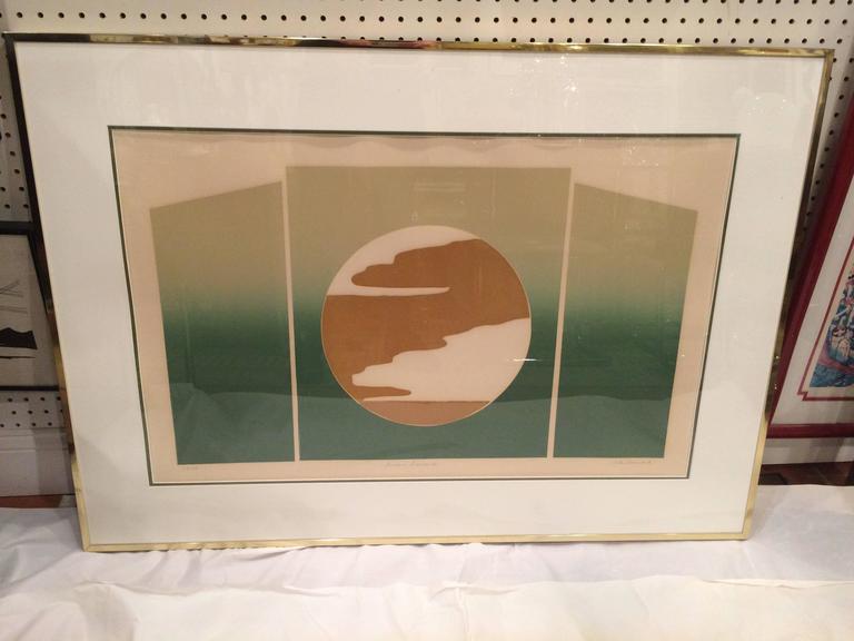 Mid-Century Modern Mid Century Post Modern Silk Screen by Rita Schwartz For Sale