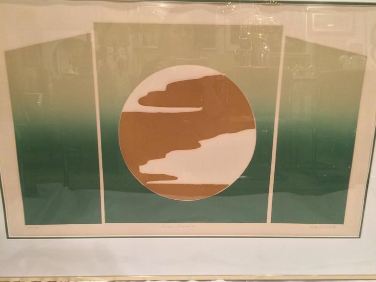 Mid Century Post Modern Silk Screen by Rita Schwartz In Good Condition For Sale In Redding, CT