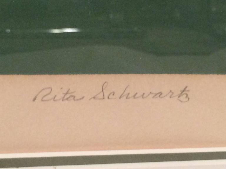 Mid Century Post Modern Silk Screen by Rita Schwartz For Sale 2