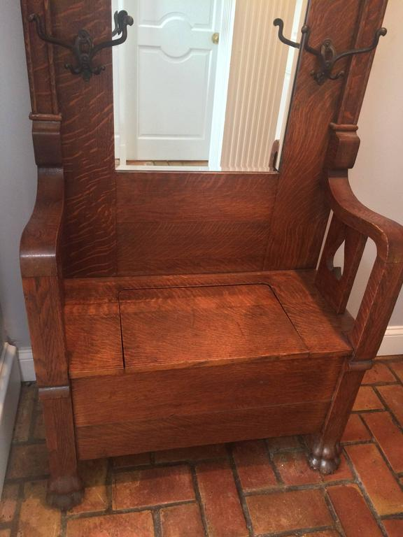 Antique Tiger Oak Hall Tree With Storage At 1stdibs