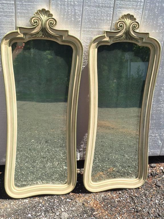Romantic Pair of Hollywood Regency Mirrors For Sale
