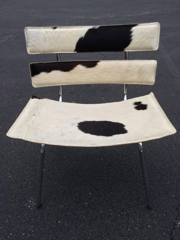 Cowhide Barstools Vintage Black White Hairhide Leather Bar: Cowhide And Chrome Eames Style Chair For Sale At 1stdibs