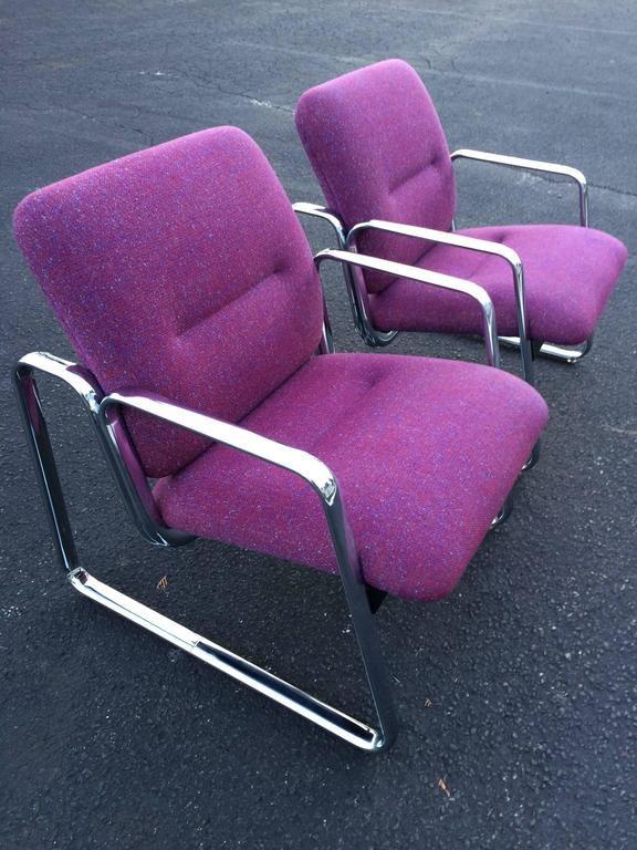 Awesome Pair Of Chrome Steelcase Chairs In Violet Ibusinesslaw Wood Chair Design Ideas Ibusinesslaworg