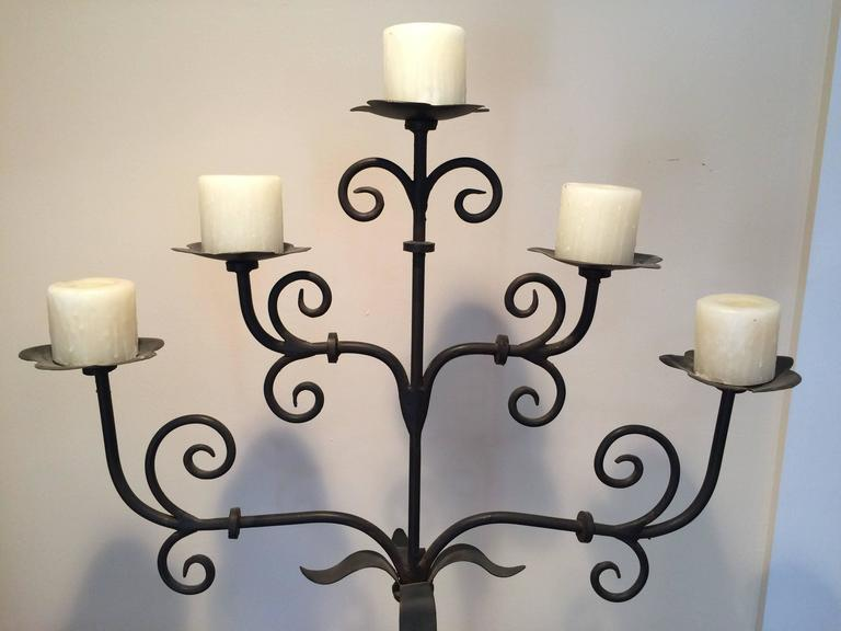 Handmade Wrought Iron Floor Candelabra Stands 5 Ft Tall For Sale At 1stdibs